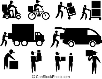 Delivery Man Icon Set - Vector illustration of the work of a...