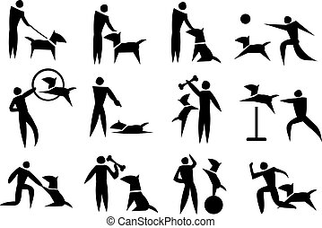 Dog Training Vector Icon Set - Black and white vector icon...