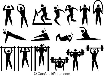 Icon of sport man in the different exercise activities....