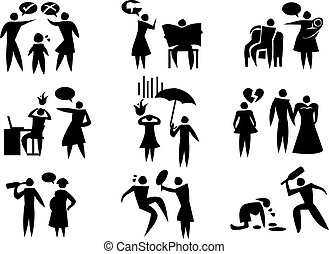 Domestic Violence Vector Icon Set - Vector illustration of...