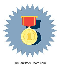 Medal of gold with number one vector or logo flat design