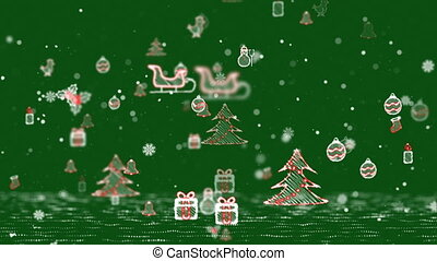 Christmas Icons Background - Green.