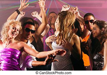 amigos, bailando, Club, o, disco