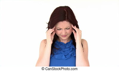 Attractive girl having a headache against a white background...