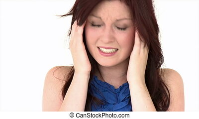 Positive girl having a headache against a white background