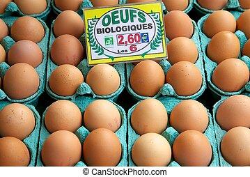 caixas, ovos
