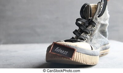 Fitness - text on Sneakers - and Vintage Sneakers on the...
