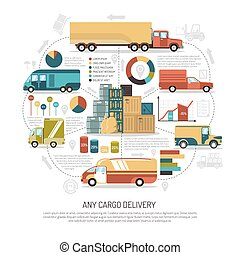 Delivery Trucks Illustration - Big and small trucks...