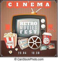 Cinema Retro Movies Festival Announcement Poster - Retro...