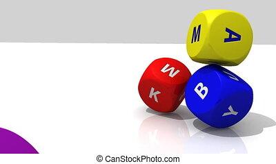 3D multicolour dices falling - 3D multicolour dices rolling...