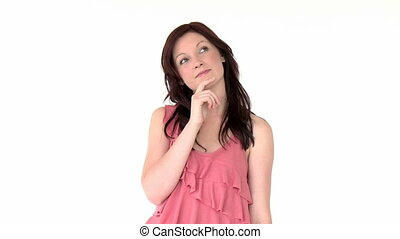 Thoughtful young woman against a white background