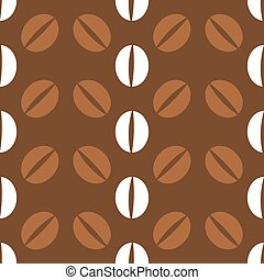 Coffee beans pattern, seamless flat texture. Vector...