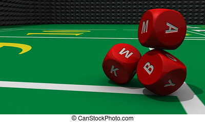 Several 3D red dices rolling into a casino environment