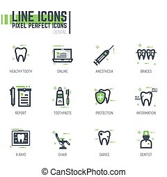 Dental care line icons - Set of pixel thick line style...