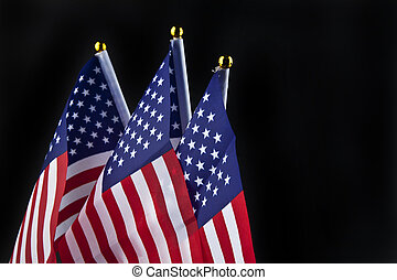US flag on a black background