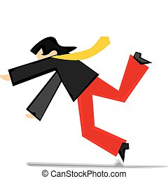 stylized man falling down - fully editable vector...