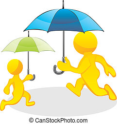 people running with umbrellas