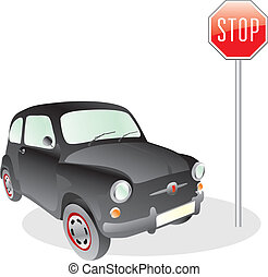 car and stop sign - fully editable vector illustration of...