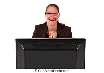 Help desk woman computer - Attractive young smiling...