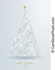 Stylized Christmas tree decoration made from swirl shapes....