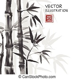 Traditional sumi-e background with bamboo. - Traditional...