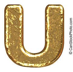 Golden font. Capital letter U