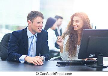 從事工商業的女性, 現代, 會議, 辦公室, 商人