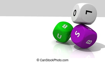 3D rolling multicolour dices against a white background