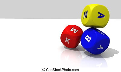 Several 3D multicolour dices rolling against a white...