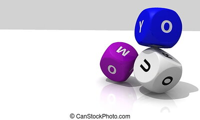 Designed 3D multicolour dices rolling against a white...