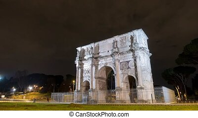 Arch of Constantine at night. Rome. Italy. TimeLapse