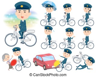police men ride on city bicycle - Set of various poses of...