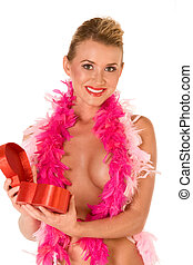 Sexy implied topless blonde with Valentine\'s day gift box
