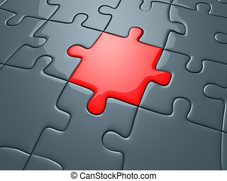 puzzle - 3d rendered illustration of red and grey pieces of...