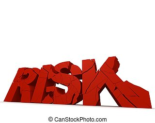 risk - 3d rendered illustration of broken red letters