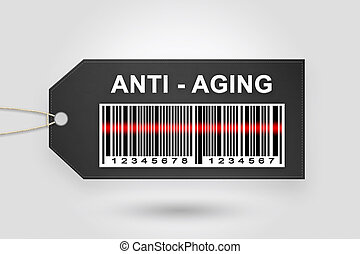 anti-aging price tag with barcode and grey radial gradient...