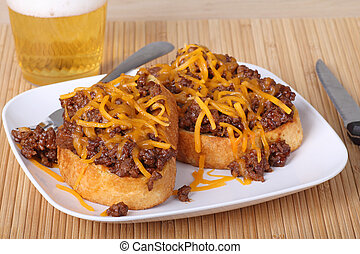 Sloppy Joe - Sloppy joe sandwich on texas toast covered with...