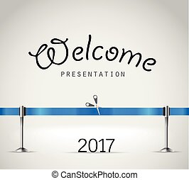 Photorealistic bright stage with projectors and blue ribbon. Presentation vector template. Vector stage