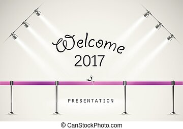 Photorealistic bright stage with projectors and ribbon. Presentation vector
