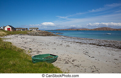 Rowing boat Iona beach Scotland uk Scottish island off the...