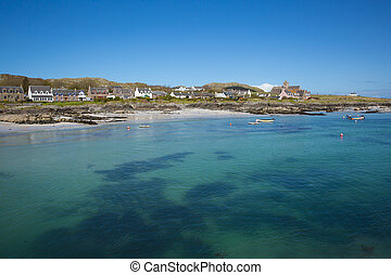 Clear blue turquoise sea Scottish island of Iona Scotland uk...