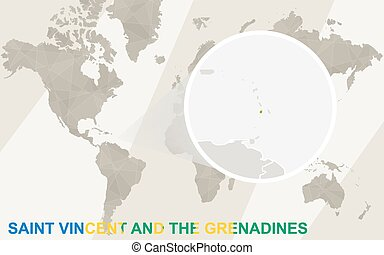 Zoom on Saint Vincent and the Grenadines Map and Flag. World...