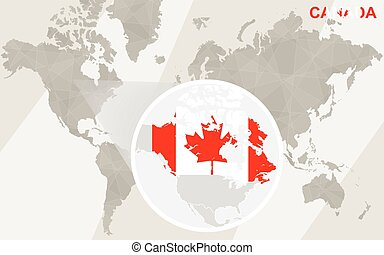 Zoom on Canada Map and Flag. World Map.