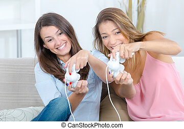 best friends playing video games