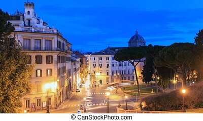 Piazza D'Aracoeli at sunrise, Rome, Italy. Time Lapse....