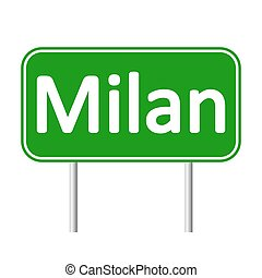 Milan road sign. - Milan road sign isolated on white...