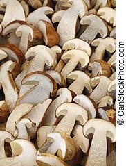 Fresh ceps porcini mushrooms halves close up - Fresh autumn...