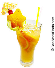 fruit cocktail smoothie with orange