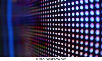 Modern RGB light emitting diodes or LED screen in action 4K...