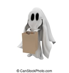 3d man ghost costume trick or treat halloween